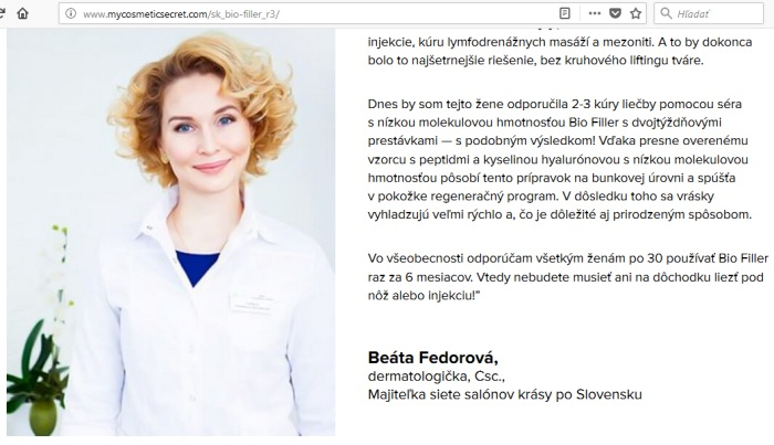 Beata Fedorova Bio FIILLER podvodné stránky