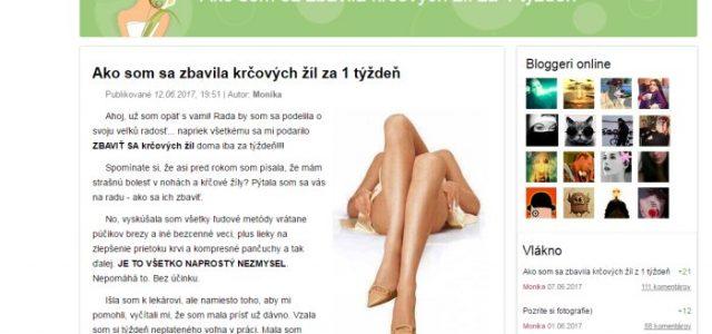 Pochybný prípravok na kŕčové žily Varyforte a falošný blog Moniky