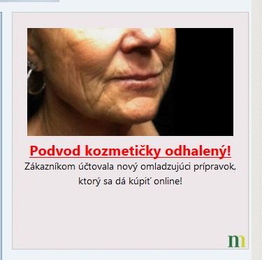 falošný podvodný banner o kozmetike a nejakom podvode na centrum.sk