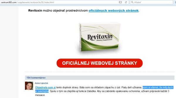 Revitoxin podvodné stránky