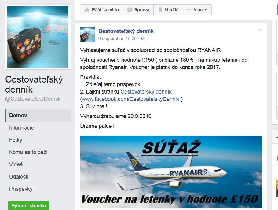Facebook stránky Cestovateľský denník súťažou zneužívajú Ryanair