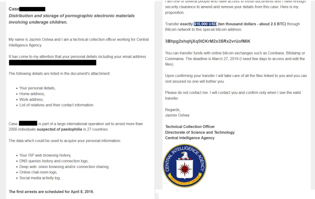 CIA agent vydieranie fake