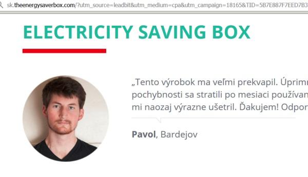 Elekctricity saver box a falošné informácie, identity ľudí