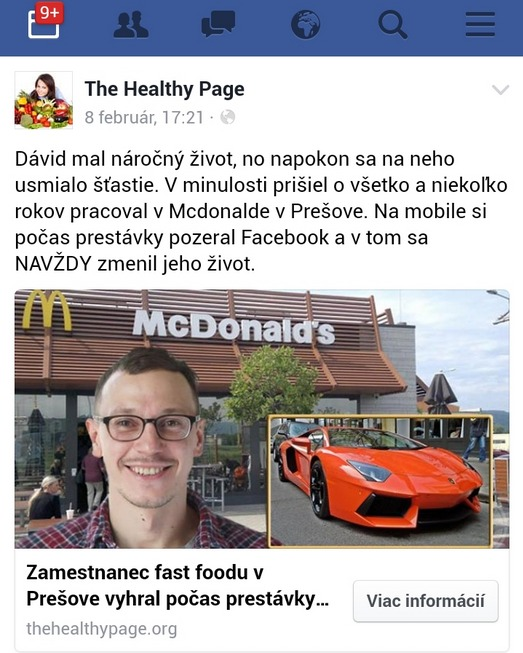 Facebook falosna reklama David z Presova, McDonalds
