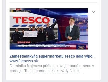 Facebook reklama, podvodné tesco