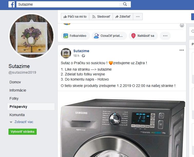 Facebook súťaže podvodné práčka