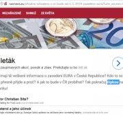 Česko podľa vraj oficiálnych zdrojov zavádza EURO od 1.1.2019