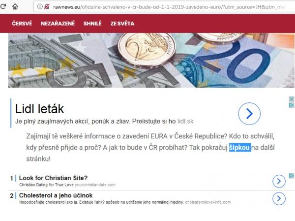 Falošné informácie, Česká republika zavádza EURO