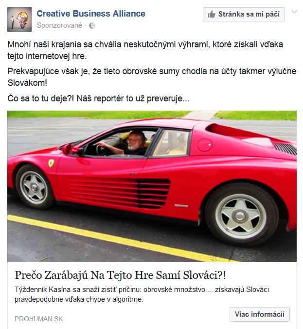 podvodné hazardné hry v reklame Facebook