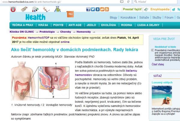 HemorrhoSTOP hemeroidy podvod
