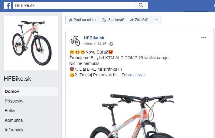 http://HFbike.sk falošné súťaže o bicykle