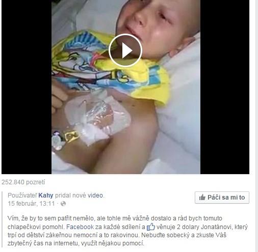 Hoax a zdieľanie chorého chlapca