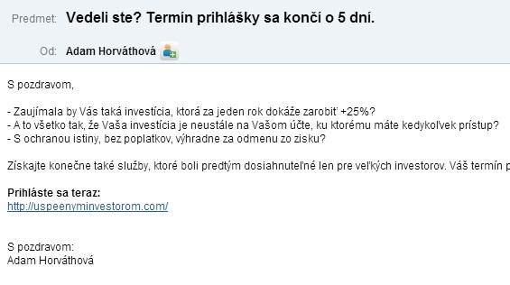 Investorom a spam