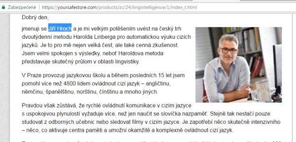 Jiří Hroch neexistuje, ide o falošného človeka