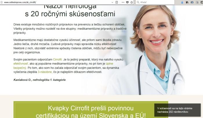 Cirrofit a lekárka Kaniaková
