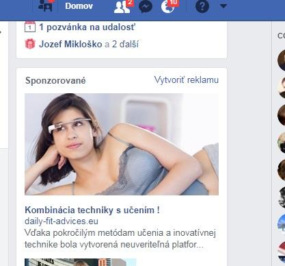 Dnešná reklama na Facebooku, podvodné jazykové kurzy