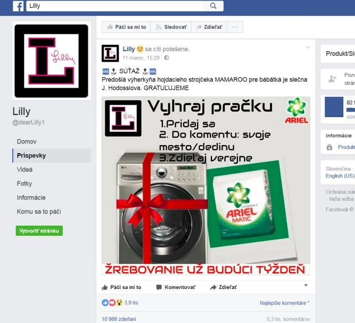 Lilly súťaž Facebook