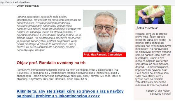 Max Randall profesor vymyslený odborník pre Viostelix