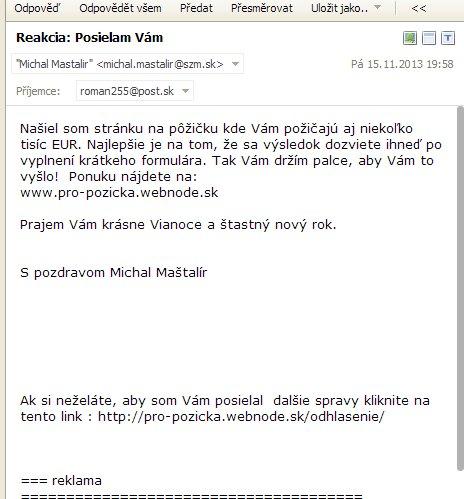 Michal Maštalír spamuje