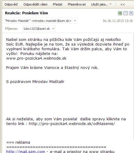 Miroslav Maštalír spamuje
