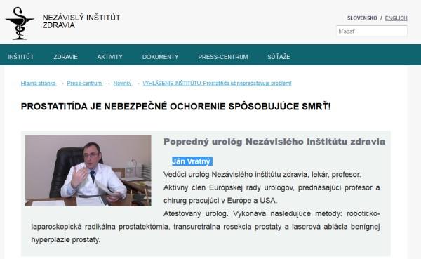Nezávislý inštitút zdravia a podvodný Prostect