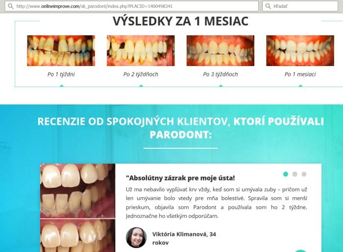 Zubná pasta Paradont a podvodníci na falošnom webe