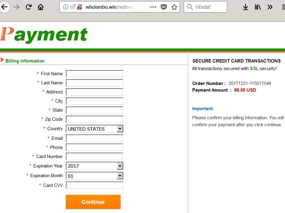 payment falošná brána bez zabezpečenia
