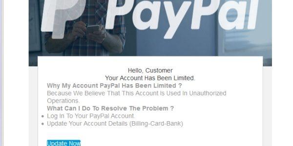 Falošné Paypal hlásenie o obmedzení účtu a falošný odkaz: jún 2018