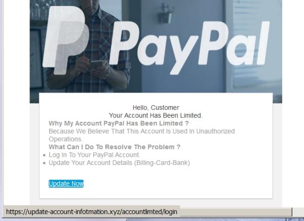 Paypal falošný email jún 2018