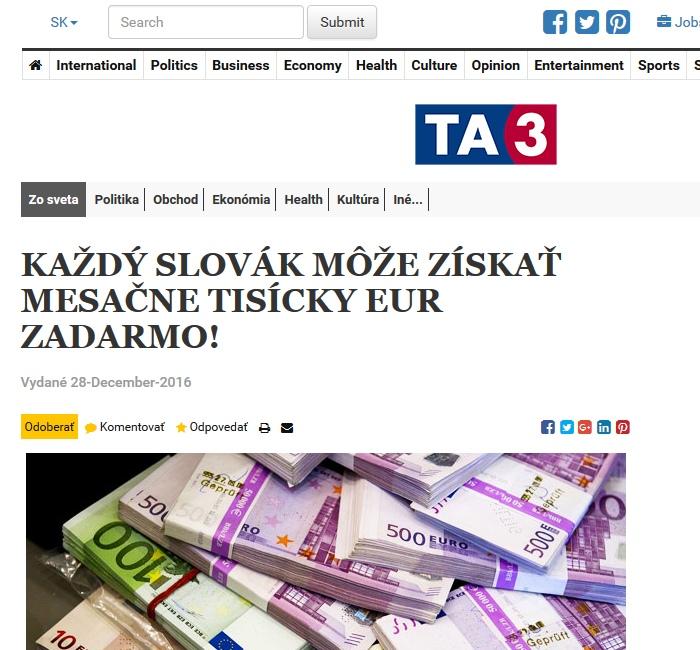 Peniaze Slovákom a podvodná reklama