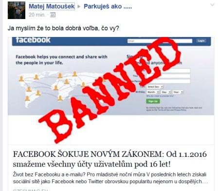Podvodný príspevok a zákaz facebooku