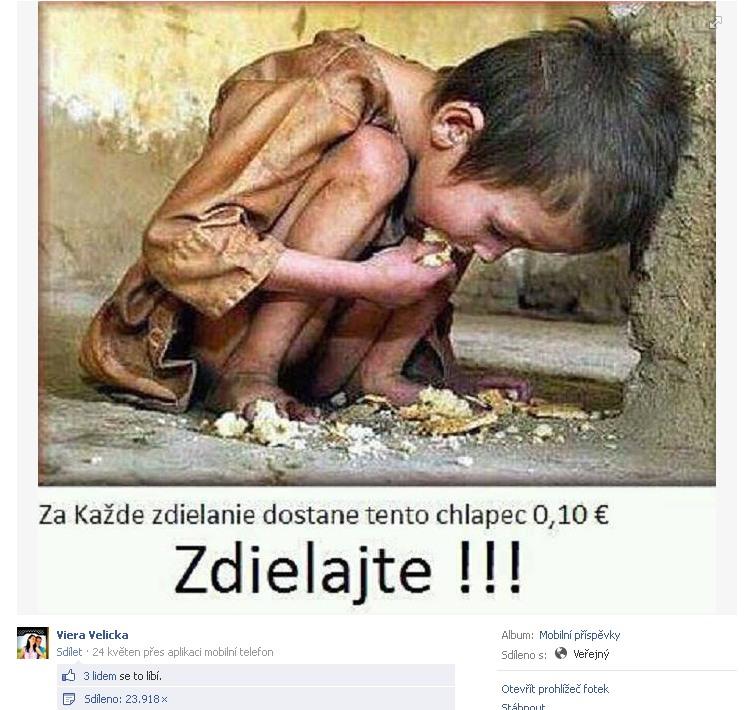 Podvodná fotografia a jej zdieľanie na Facebooku zbierka deťom