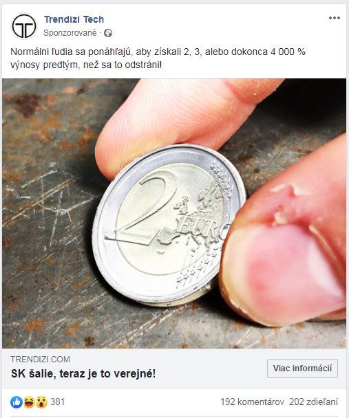 podvodná reklama na facebooku