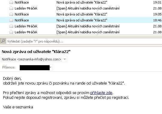 podvodné spamy na zoznamku AT