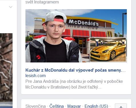 Podvodník na Facebooku zneužíva McDonalds