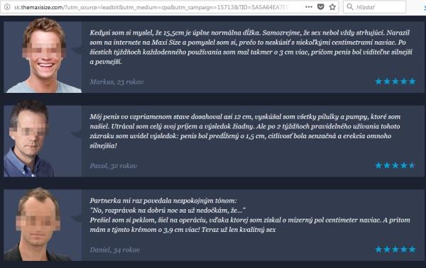 Maxisize podvodný prípravok falošné informácie