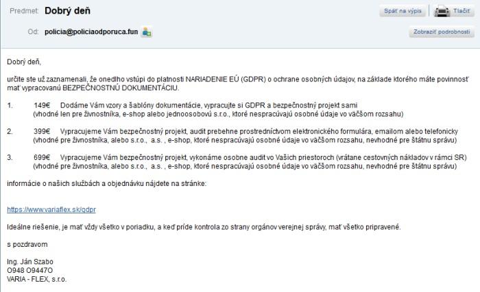 Polícia odporúča falošná polícia, žiadna polícia, spam s GDPR