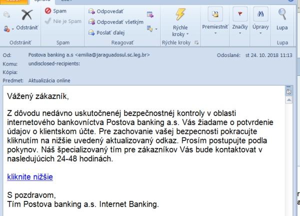 Poštová banka podvodný email ako Postova banking a.s.