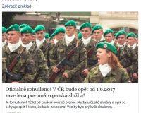 HOAX (2017): oficiálne potvrdené, v Česku povinná vojenská služba