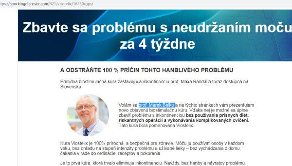 Profesor Marián Belko, podvodné stránky pre Viostelix na pomočovanie