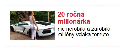 falošné reklamy, milionárka, cas.sk