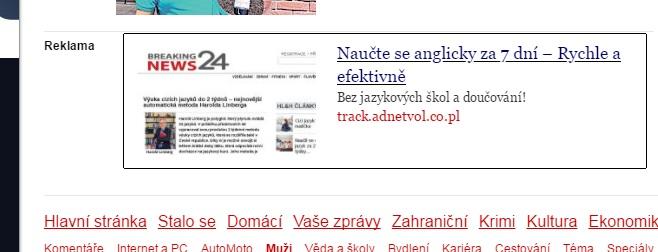 Reklama na novinky.cz na Ling Intelligence