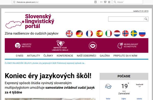 Slovenský lingvistický portál, falošný polyglot a LING FLUENT jazykové kurzy
