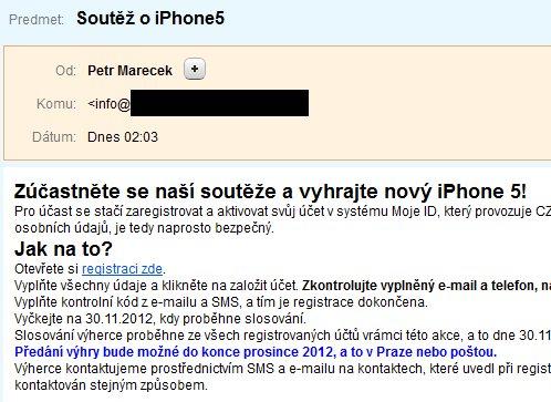Soutež o iPhone registráciou na MojeID je podvod, pokus o výhru niekoho iného