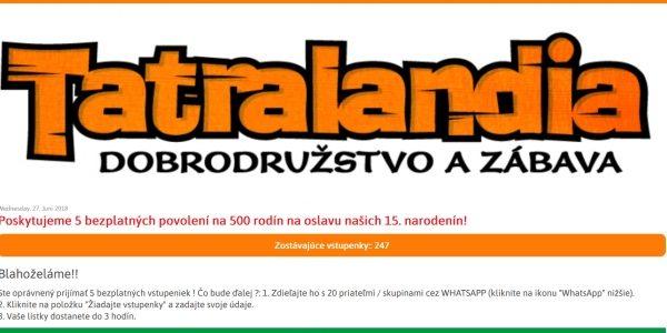 Varovanie: falošné vstupenky do Tatralandie pre 500 rodín na divnom webe