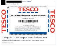 Tesco rozdáva 100 EUR kupóny? V skutočnosti ide o podvod