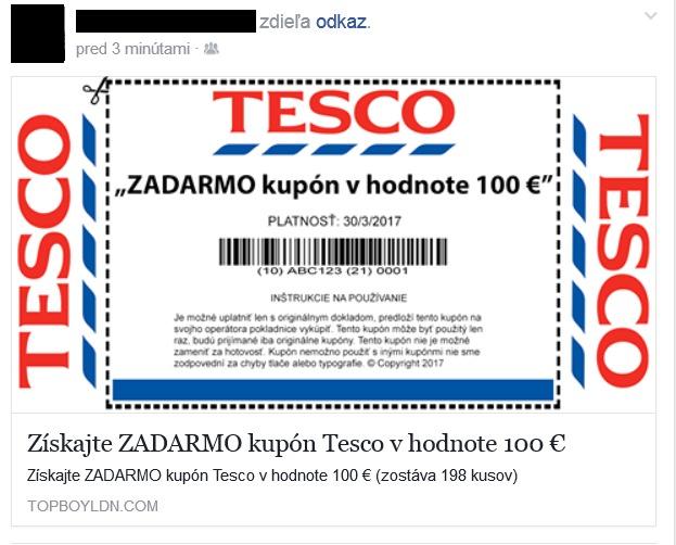 TESCO falošný kupón