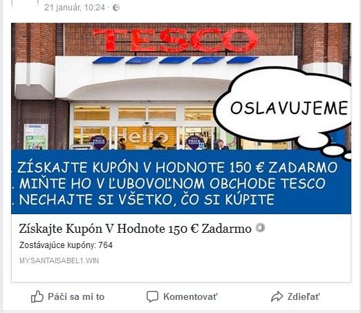 falošná poukážka TESCO 2018 na sumu 150 EUR