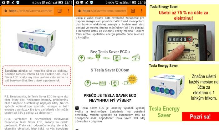 Tesla Energy Saver pozor varovanie