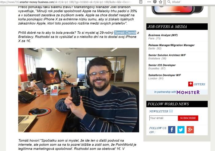 Tomáš Čiernik a podvod s iPhone